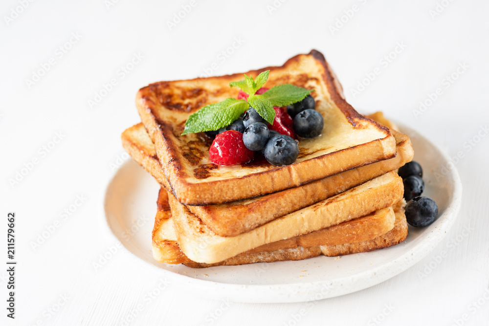 Fototapety, obrazy: French toast with berries isolated on white. Closeup view, selective focus