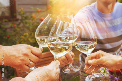 Family of different ages people cheerfully celebrate outdoors with glasses of wh Fototapet