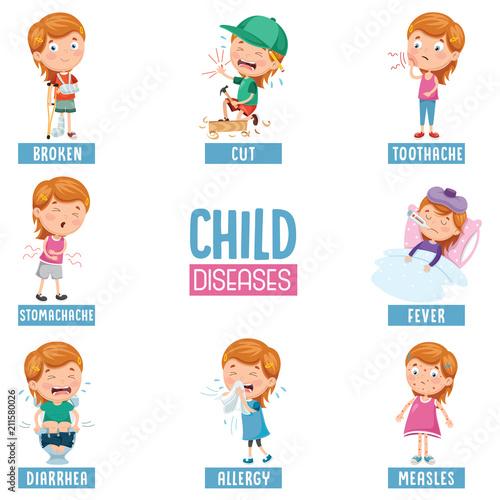 Stampa su Tela Vector Illustration Of Child Diseases