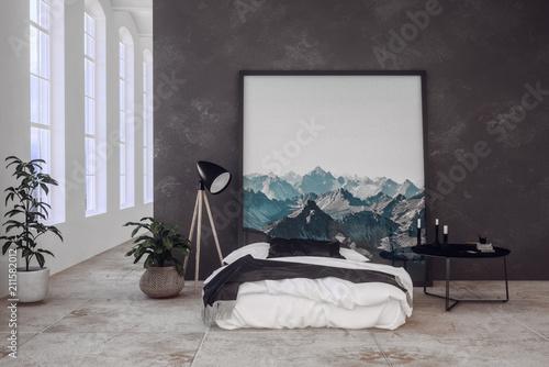 Schlafzimmer in einem Loft