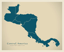 Modern Map - Central America With Country Borders