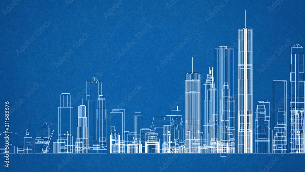 Fototapety, obrazy: City Concept Architect Blueprint