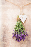 Lavender flowers, bouquet on rustic background, overhead. - 211584636