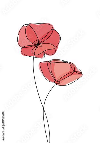 Poppy flower icon, logo, label