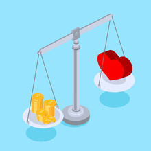 Blue Background With Comparison Of Love And Money.