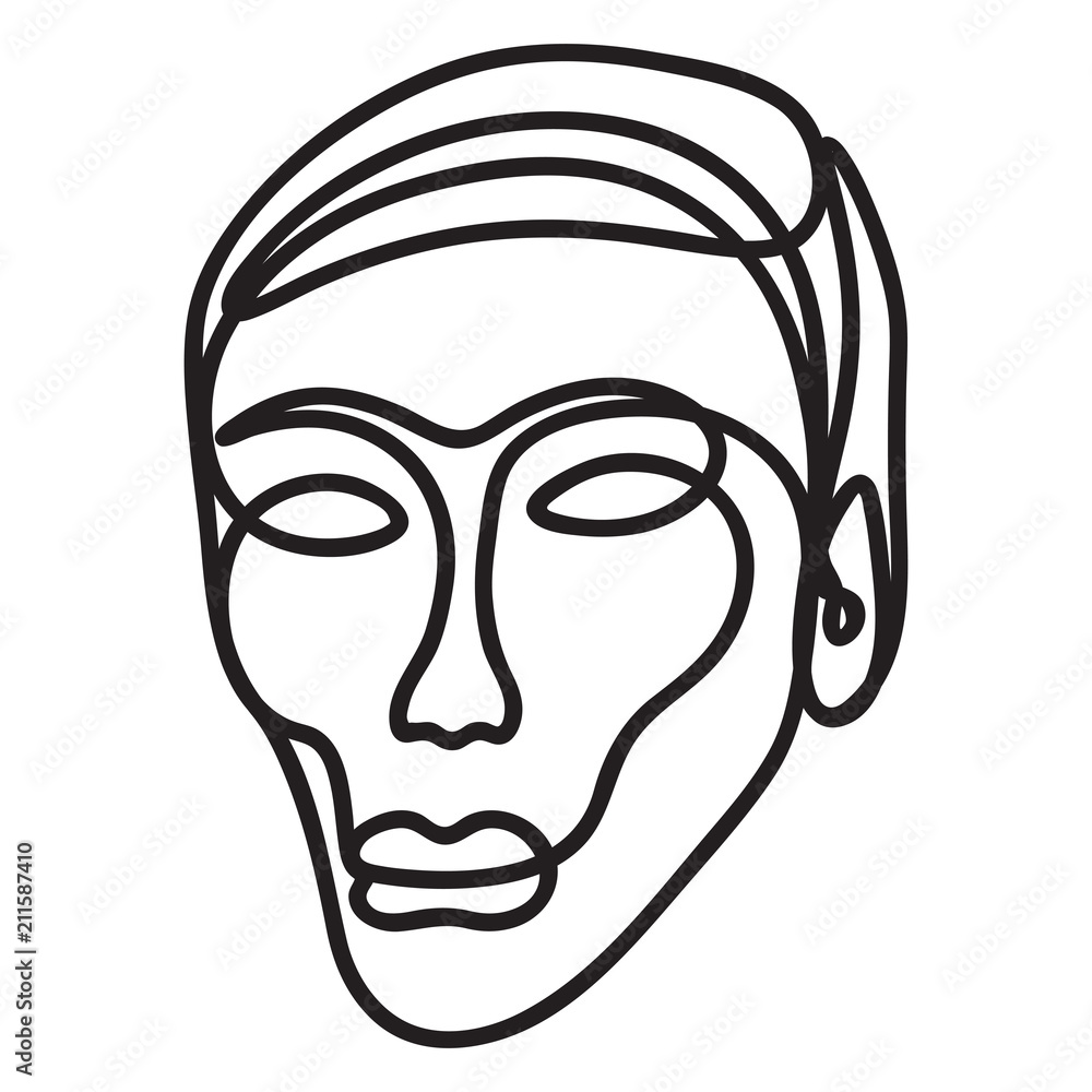 Human face sketched with a single line.