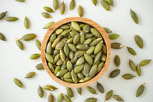 Pumpkin Seeds On White Background, Top View