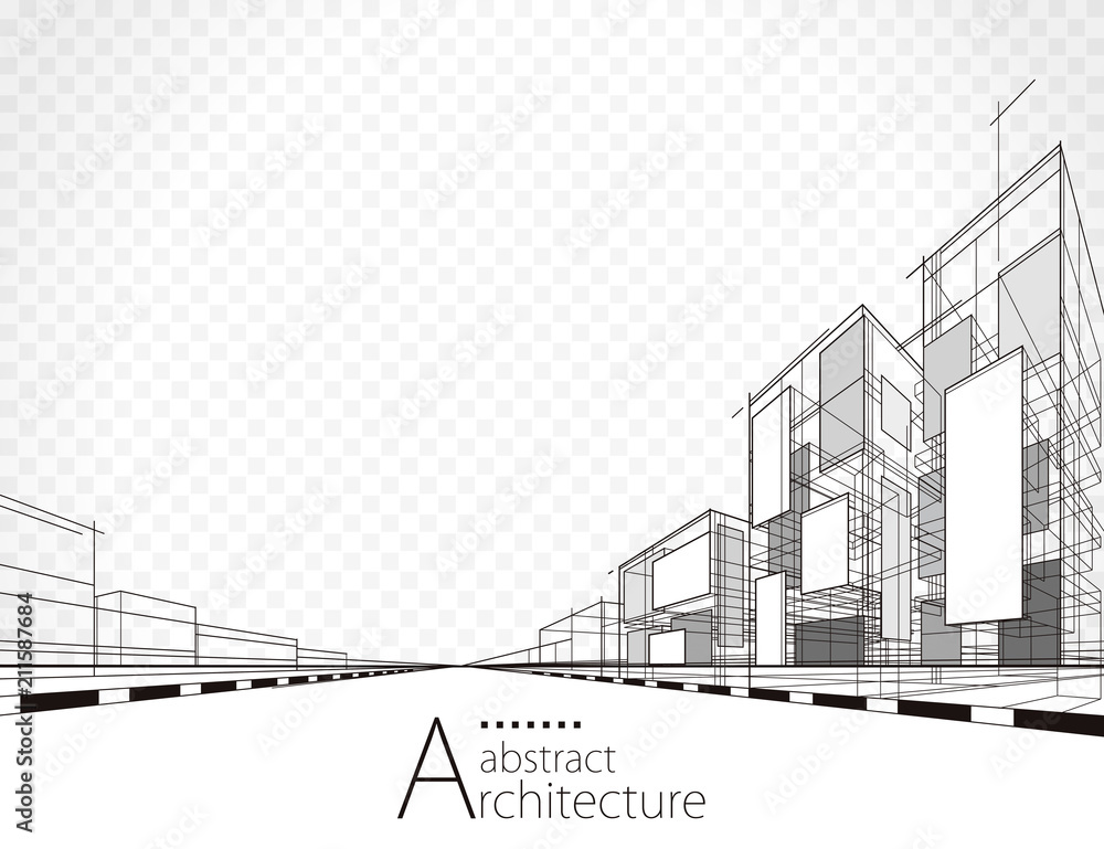 Fototapeta Architecture building perspective lines, modern urban architecture abstract background.