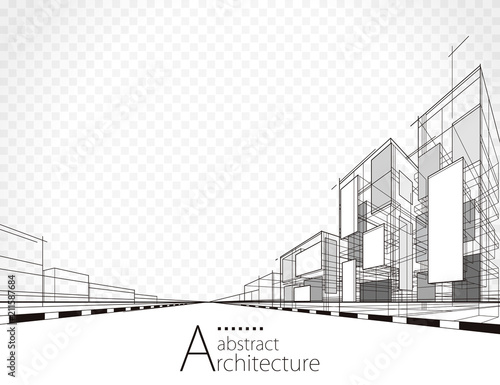 Tableau sur Toile Architecture building perspective lines, modern urban architecture abstract background