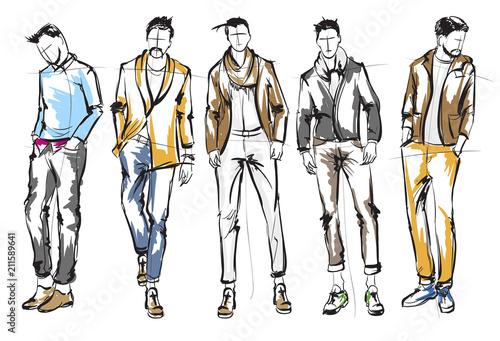 Fototapeta Fashion man. Set of fashionable men's sketches on a white background. Spring men. obraz