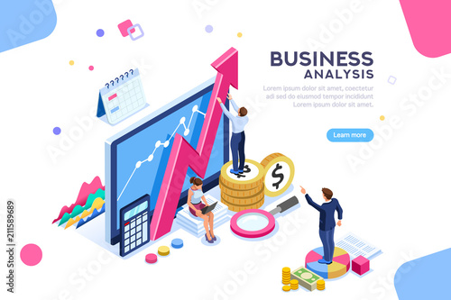 Fotografía  Auditing, business analysis concept with characters