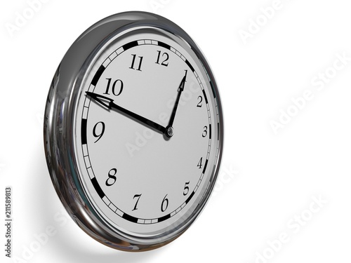 Large Clock Face With Hands That Mark The Hours On White Background