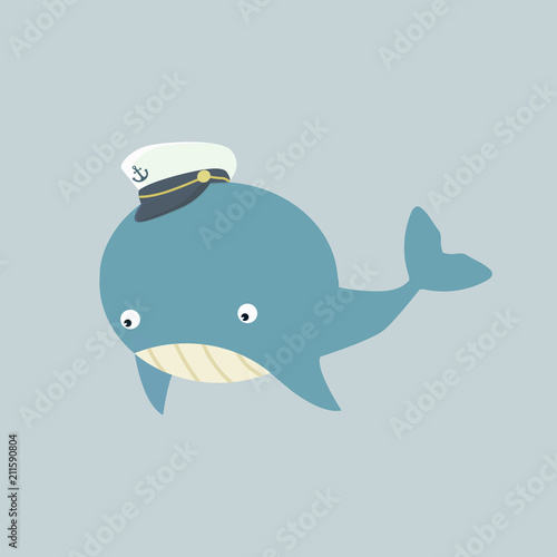 Photo  Cute  whale with hat