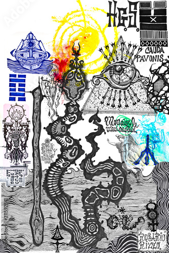 Poster Imagination Drawings and manuscripts with esoteric, alchemical and astrological signs and symbols