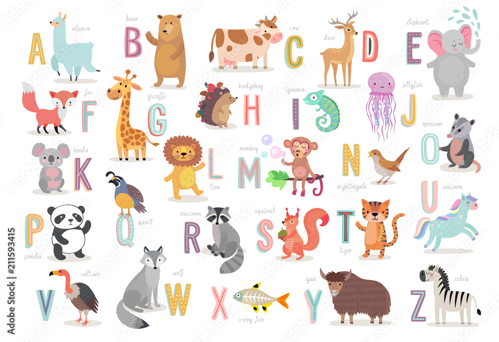 Fototapeta Cute Animals alphabet for kids education. Funny hand drawn style characters.