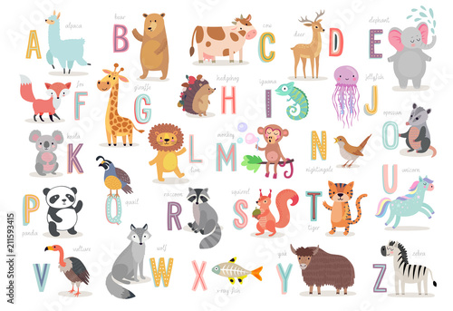 fototapeta na ścianę Cute Animals alphabet for kids education. Funny hand drawn style characters.