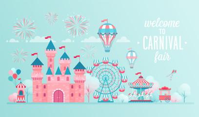 Fototapeta Amusement park landscape banners with castle, carousels and air balloon.
