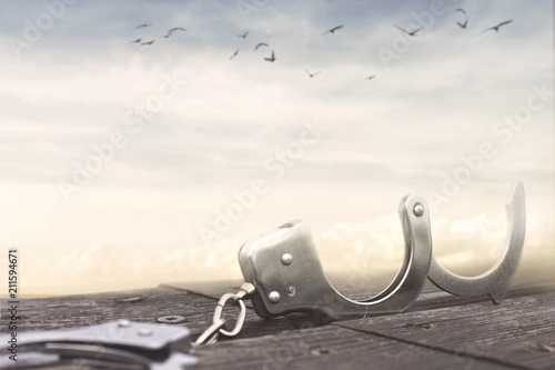 Tableau sur Toile freedom concept with a pair of open handcuffs