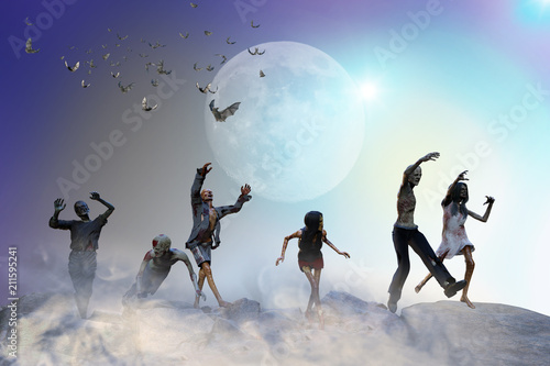 Valokuvatapetti 3D Illustration of a crowd of zombies Halloween background