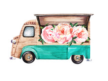 Hand-painted Watercolor Mobile Coffee And Snack Van With Peony Flowers Illustration On White Background
