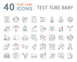 Set Vector Line Icons of Test Tube Baby.