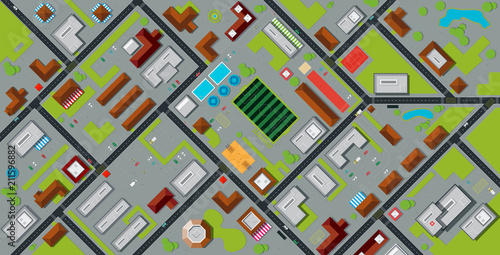 Foto op Canvas Op straat Top view city map with stadium and public