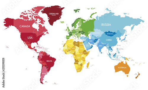 Spoed Fotobehang Wereldkaart Political World Map vector illustration with different colors for each continent and different tones for each country. Editable and clearly labeled layers.