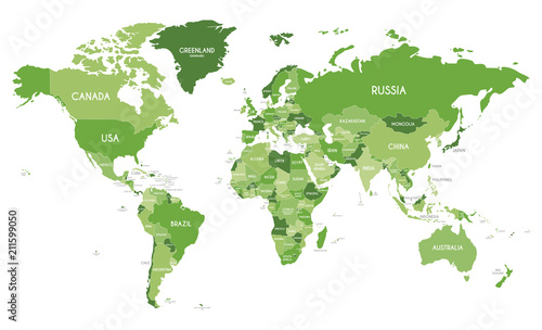 Recess Fitting World Map Political World Map vector illustration with different tones of green for each country. Editable and clearly labeled layers.