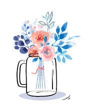 Graphic Jar With Watercolor Bouquet
