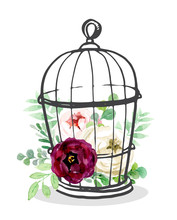 Birdcage  With  Flowers , Vector Watercolor Illustration