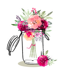 NaklejkaGraphic glass jar with marsala flowers in watercolor style
