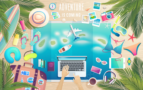 Obraz Adventure is comming. Preparing for the trip to tropical paradise. - fototapety do salonu