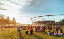 Audience At Summer Music Festival, Blurred Image For Background