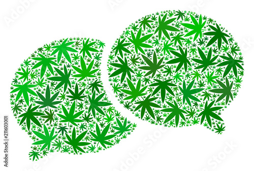 Photo  Chat mosaic of cannabis leaves in various sizes and green hues