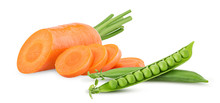 Fresh Clean Carrots With Stems, Ring Slice And Young Peas
