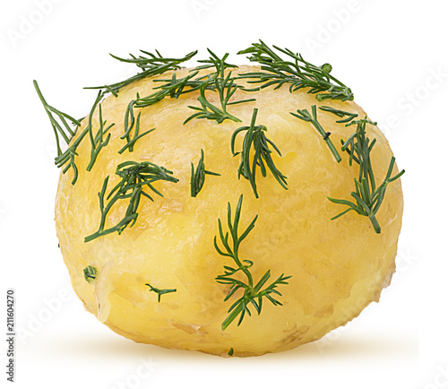 Fototapeta Young boiled potatoes in dill obraz