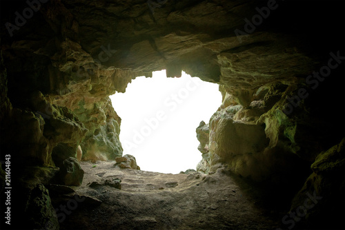 Fototapeta cave mouth stone isolate on white background