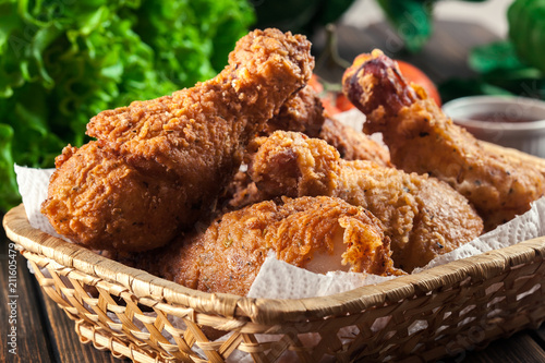 Breaded crispy fried kentucky chicken drumctick