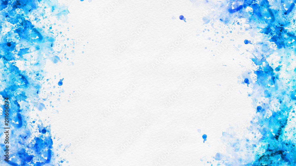 Photo  Abstract blue paint splatter borders on white