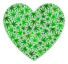 Love Heart Mosaic Of Weed Leav...