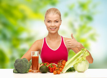 Diet, Healthy Eating And People Concept - Woman With Vegetable Food And Drink Showing Thumbs Up Over Green Natural Background
