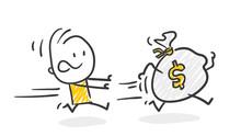 Strichfiguren / Strichmännchen: Geld Hinterherlaufen. (Nr. 262)