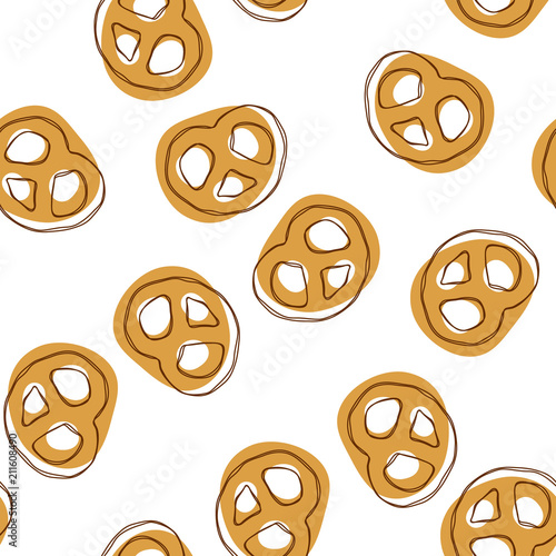 Fotografia Seamless pattern with mini pretzels on an isolated background
