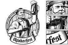 Oktoberfest Man Holds A Glass Of Beer Near Barrel. Traditional Bavarian Clothes Trachtenhut, Lederhosen. Vector Hand Drawing Illustration Of Character In Vintage Stamped Engraving Retro Graphic Style.