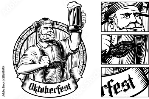 Foto Oktoberfest Man holds a glass of beer near barrel