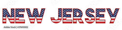 Fotografia  New Jersey USA state made from starts and stripes lettering