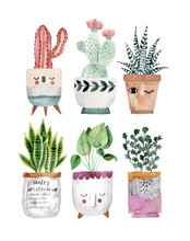 Cute Pots For Plants. Hand Drawn Watercolor Illustrations