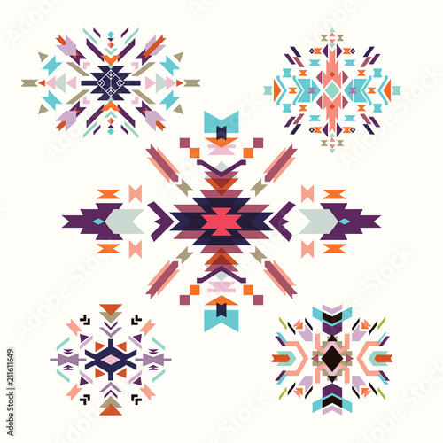 Photo sur Aluminium Style Boho Aztec decorative elements collection, isolated on white