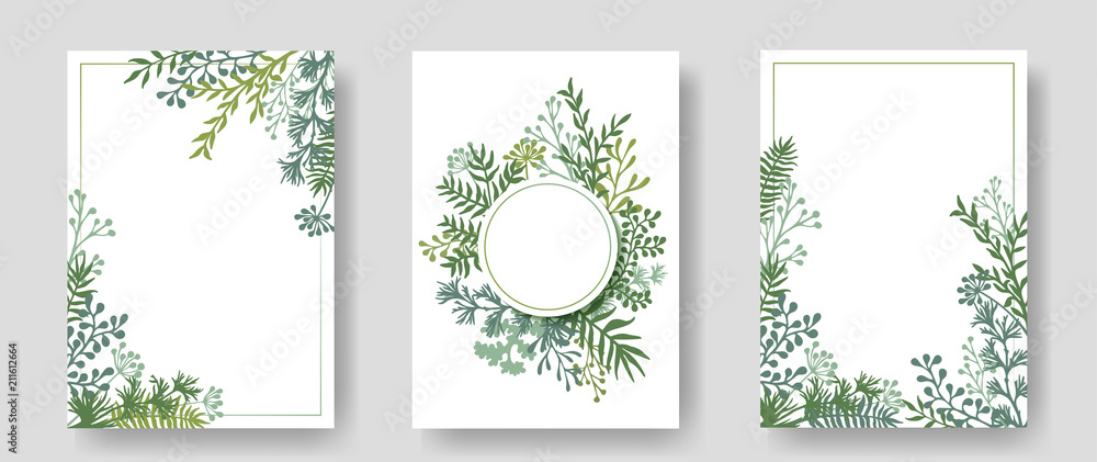 Fototapety, obrazy: Vector invitation cards with herbal twigs and branches wreath and corners border frames.