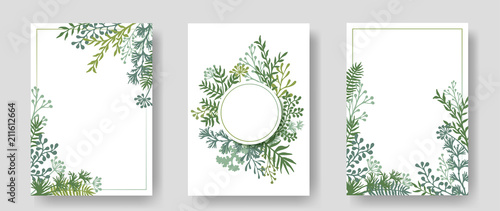 Vector invitation cards with herbal twigs and branches wreath and corners border frames.  #211612664